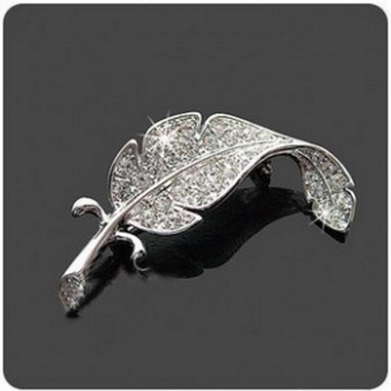 Versión coreana de los hombres Hojas Rhinestones broche de plumas del Pin de las mujeres pueden usar broches joyas broche personalizado Como Pin
