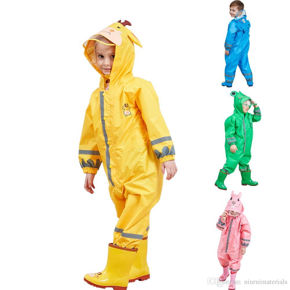 Waterproof kids raincoat 3-9 Years Old Children Cartoon Frog Rainwear Hooded boys girls RainCoat Outwear Camp Poncho Kids Rain Jumpsuit