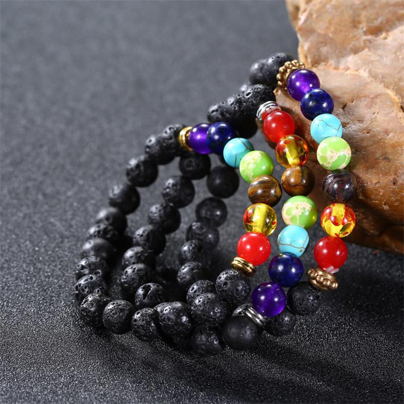 3 Styles Natural Black Volcanic Lava Stone Bracelet 8mm Energy Yoga Beads Bangle 7 Chakra Essential Oil Diffuser Bracelet Charm Jewelry M13F