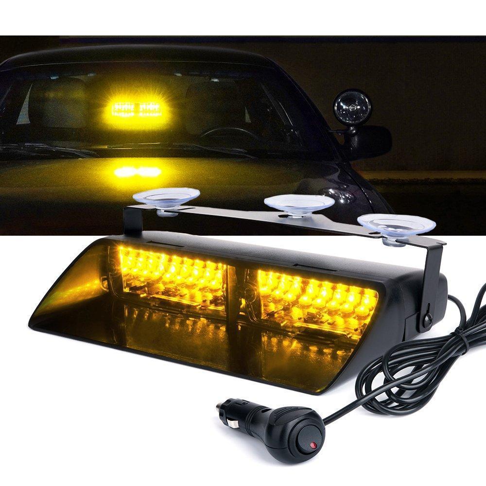 (16) LED 고강도 법 집행 비상 위험은 흡입 컵 인테리어 지붕 / 대시 / 앞 유리를 위해 스트로브 조명을 경고 LED