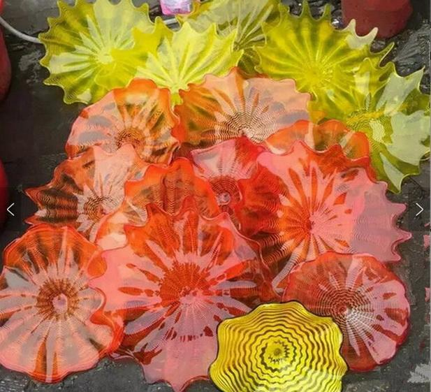 Итальянский стиль Dale Chihuly Murano Plates выдувное стекло настенный светильник Art Flower Plate для украшения галереи