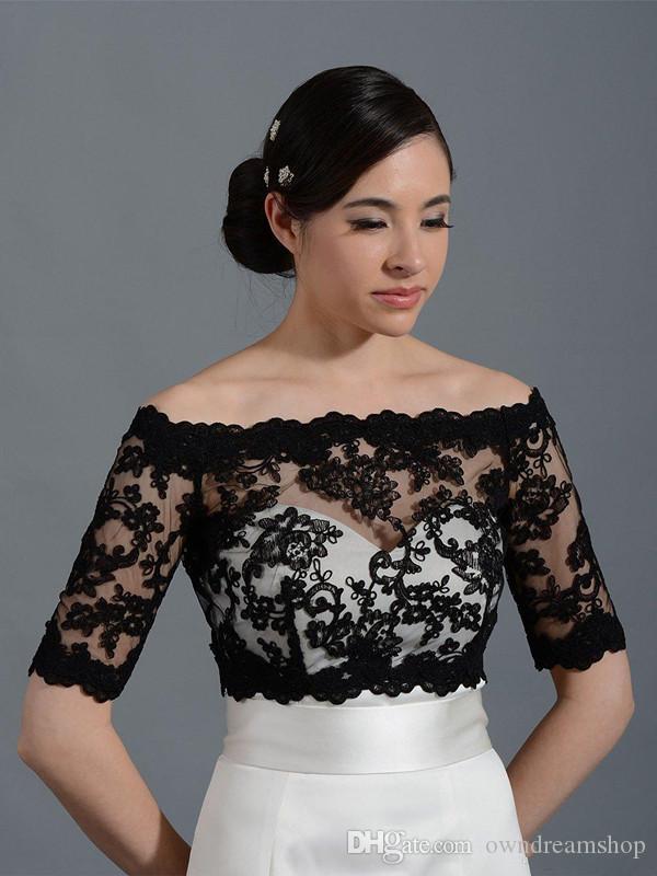 Noir Off-épaule Alencon veste en dentelle de boléro de mariée Wraps de mariée mariage Capes Wraps Boléro mariage Wraps Robe Plus Size