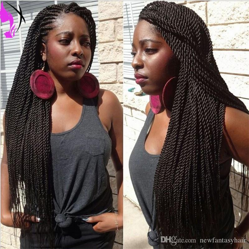 Витой синтетический парик фронта шнурка долго синтетические толстый полная рука твист парик синтетических черных микро плетеный парик для чернокожих женщин