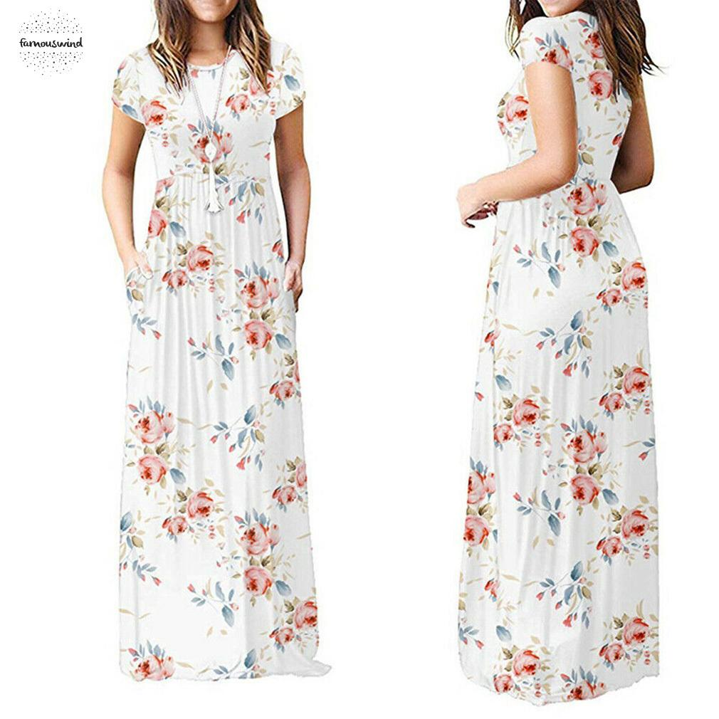 Plus Size Boho Floral Womens Holiday Long Dress Ladies Summer Floral Maxi Dress