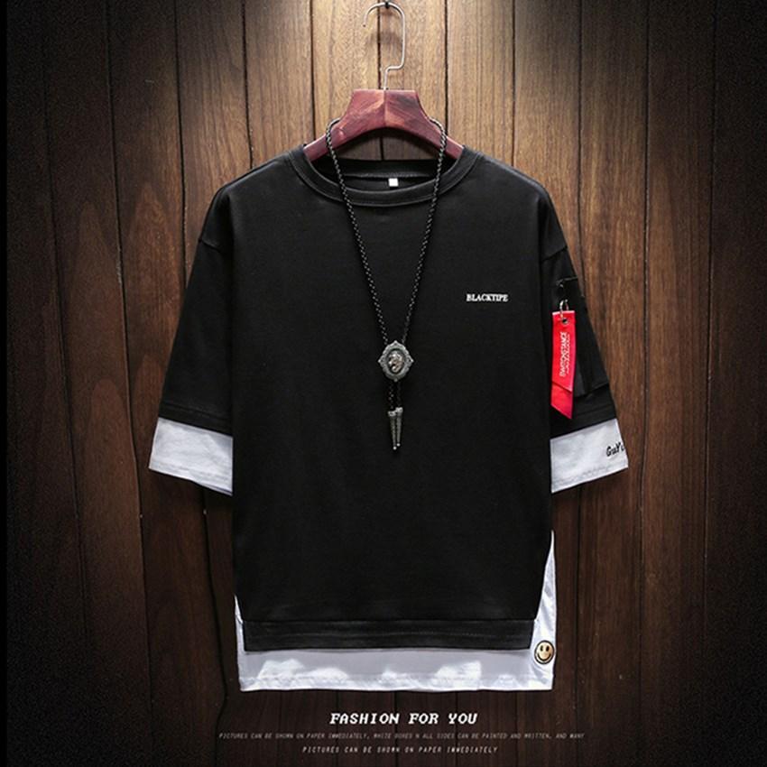 2018 лето корейской версии мужской бренд дизайн футболки шею большого размера левый рукав молнии футболки мужская одежда