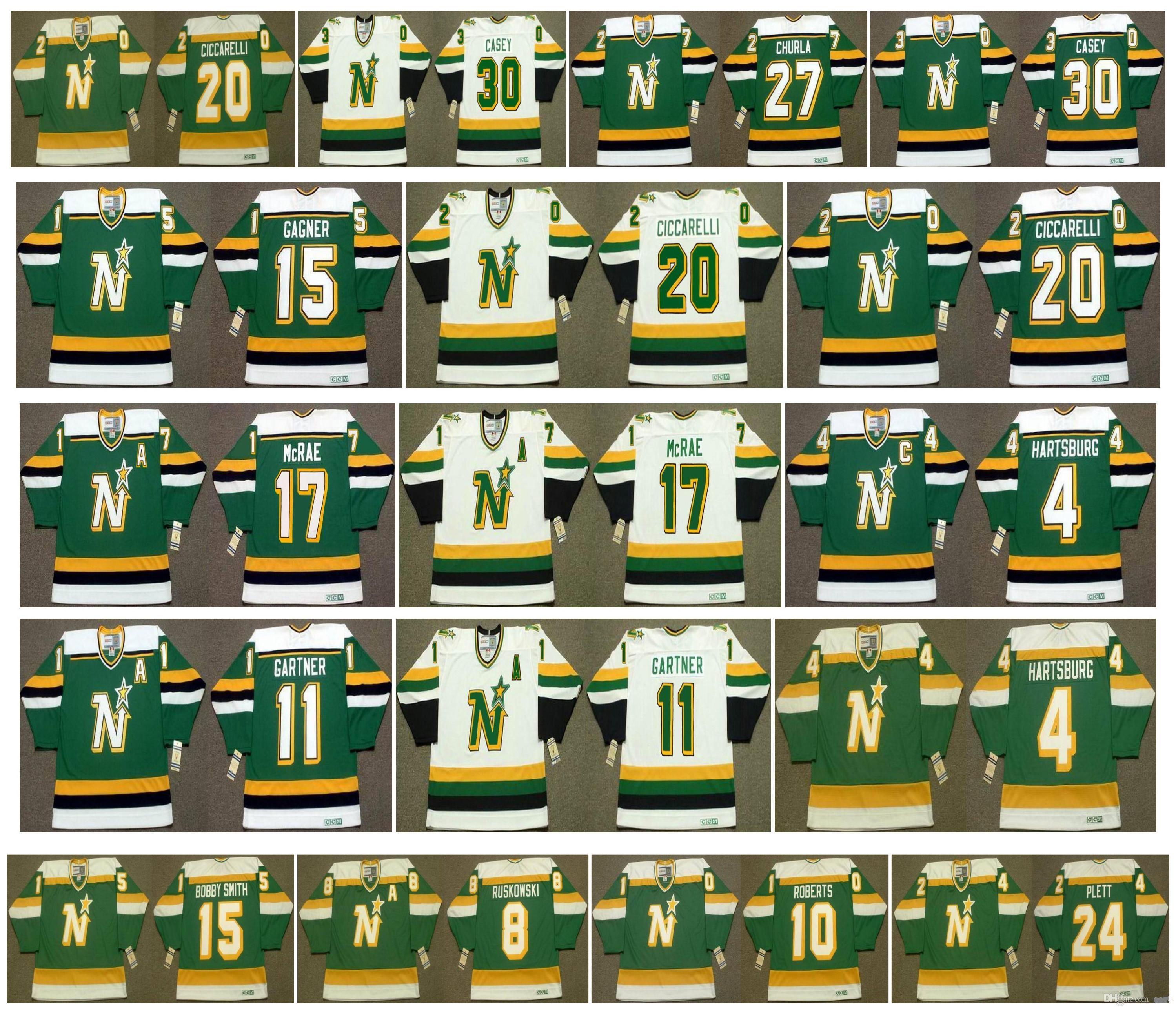 Vintage Minnesota Kuzey Yıldız Jersey 17 FESLEĞEN McRae 4 Craig Hartsburg 11 MIKE GARTNER 15 DAVE gagner 20 Dino Ciccarelli CHURLA Retro Hokeyi