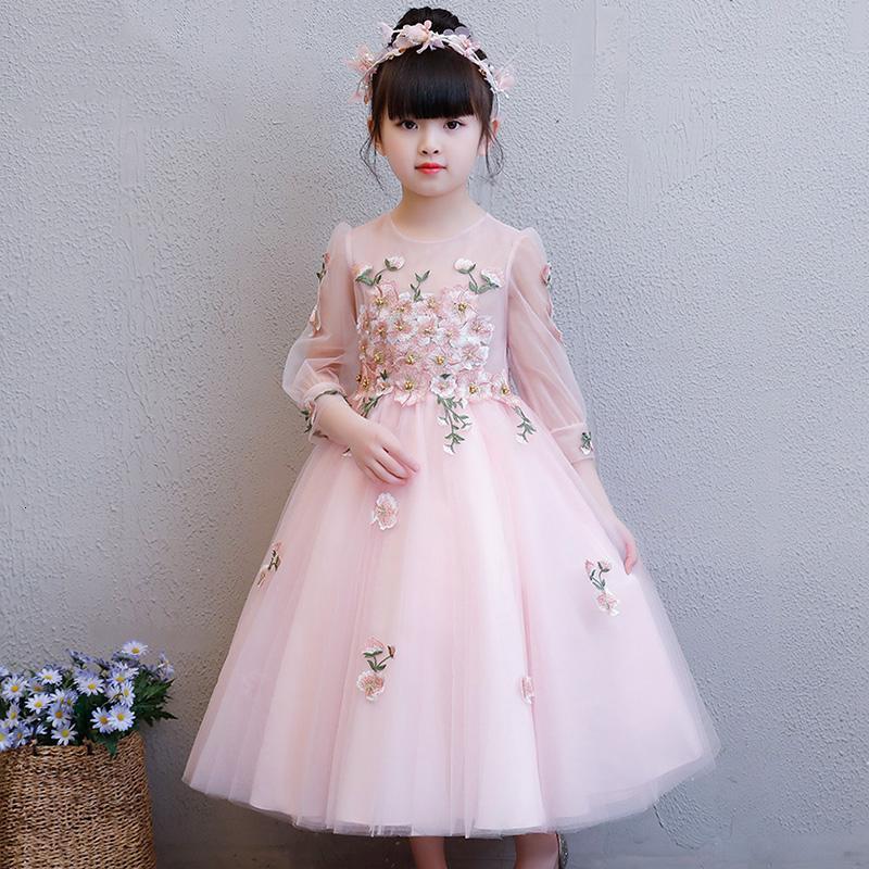 Zarif Zarif Nakış ilk komünyon Çiçek Kız Elbise Çocuk Genç Çiçek Düğün Prenses Doğum Günü Partisi Giydirme CJ191209