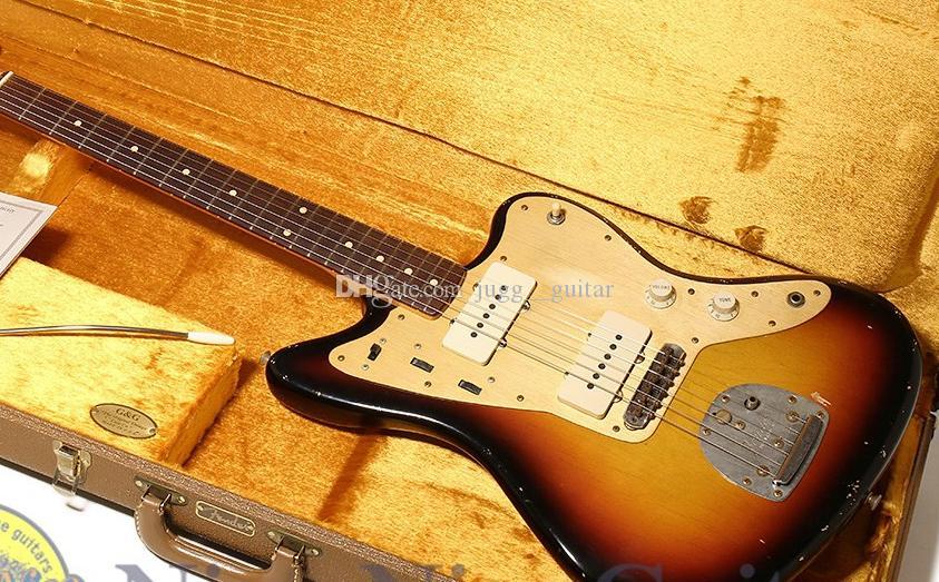 Super Rare Masterbuilt 58 JazzMaster Relic di John English Sunburst Guitar Electric Grower Gold Guard Guardia, Collo leggermente sottile a forma di C