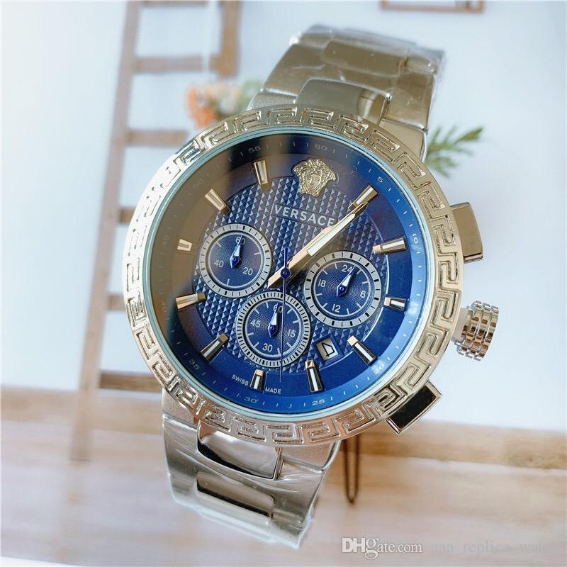 Хронограф Рабочая высокого качества Top Brand Мужские швейцарские часы из нержавеющей стали бабочки способа пряжки многофункциональные вскользь кварцевые часы