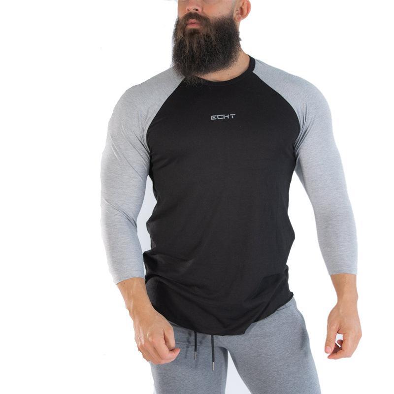 Sports Mürettebat Boyun Running Sonbahar Uzun Kollu Taban Gömlek Musküler Erkekler Spor Kardeşler tişört Slim Fit Esnekliği