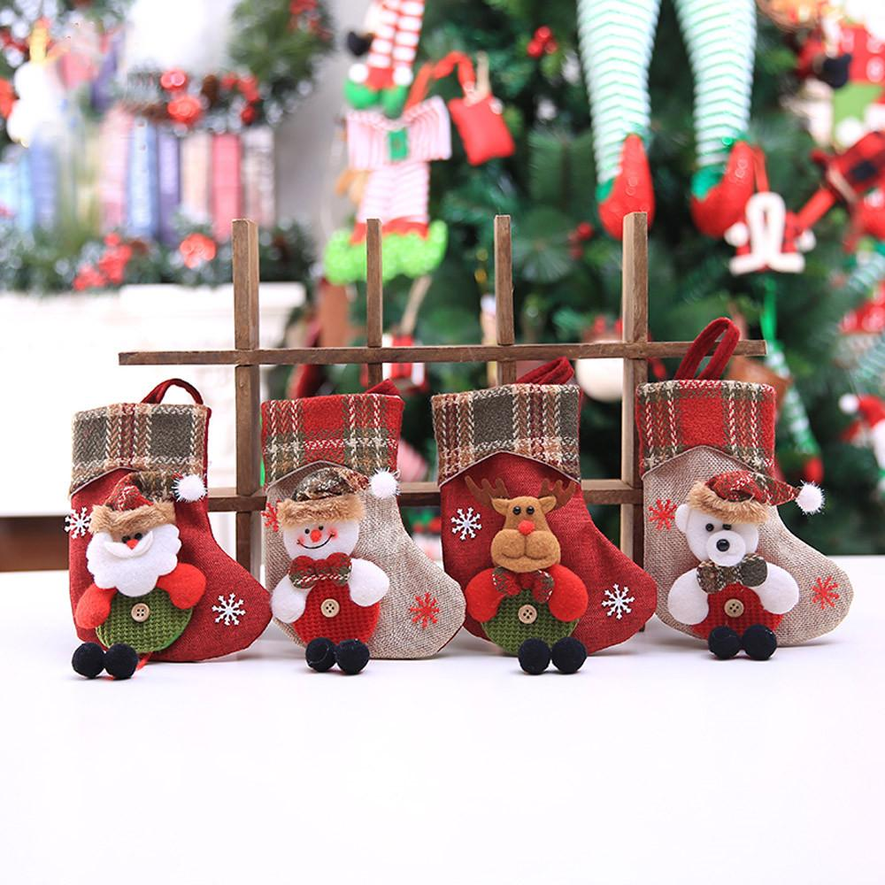Hauptdekoration Zubehör Weihnachtsstrumpf Mini-Socken-Weihnachtsmann-Süßigkeit-Geschenk-Beutel-Weihnachtsbaum-hängende Dekor Raumdekoration