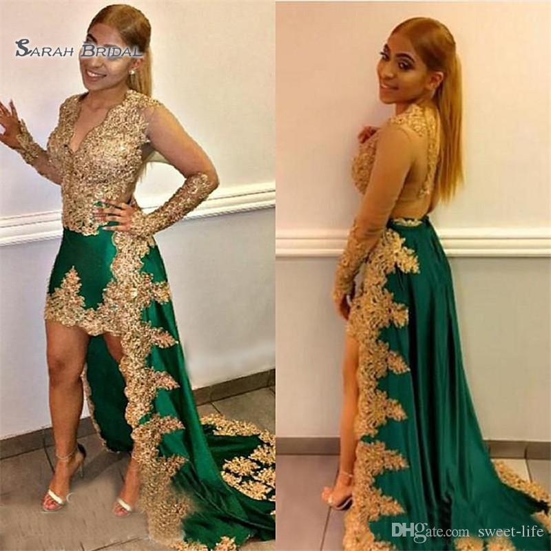 Gold Appliques Lace High Low A-line Prom Dresses Long Sleeves V Neck Green Satin Celebrity Evening Dress Party Gown