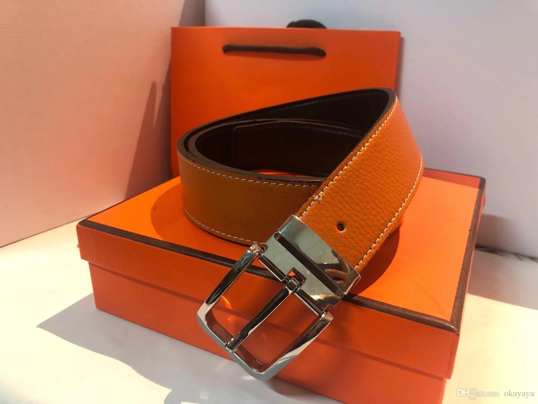Correa de la manera de las mujeres para hombre de la correa con hebilla grande de la manera real de cuero de calidad superior de alta calidad con la caja Cinturones de negocio