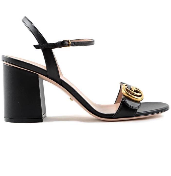 Markalı Kadın Deri 7.5 cm Yüksek Topuk Sandal Tasarımcı Lady Altın tonlu Donanım Ayarlanabilir Ayak Bileği Kayışı Kauçuk Taban Rahat Sandal