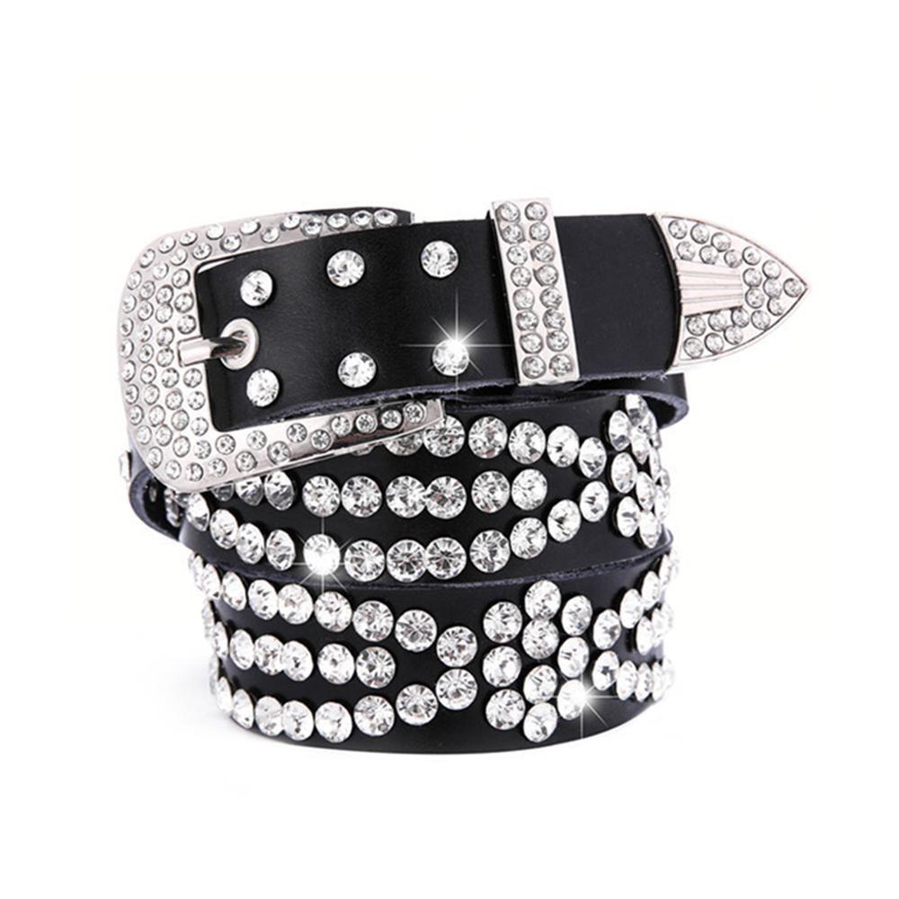 Cuero Punk Bling Rhinestone Crystal Western Cowgirl Cinturón Cintura para Mujer Chica Fiesta