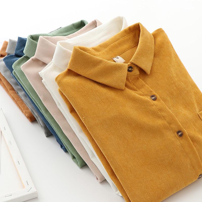 Mulheres Shirts Primavera e Outono Roupa Mulher Nova Garment Corduroy coreana solto camisa de mangas longas