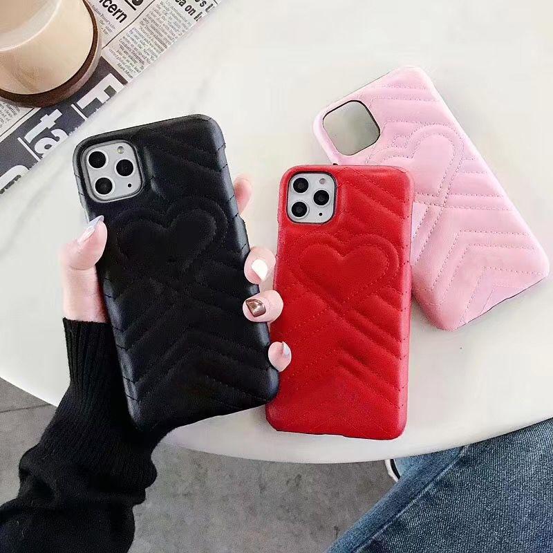 Capa de telefone de luxo Emboss do amor do coração para Samsung Nota 10 9 8 Galaxy S10 S9 S8 couro de luxo capa para o iPhone 11 Pro X Xs Max XR 8 7 6 Plus