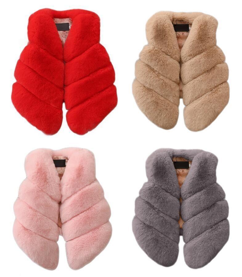Çocuklar Kızlar Yapay Kürk Yelek Palto Kış Sıcak Yelek Çocuk Kolsuz Ceket Giyim Giyim 1-7 Yıl Için Çocuk J190508