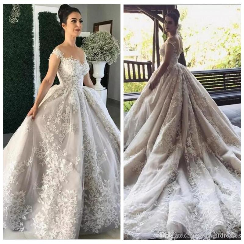 2019 Sheer Neckline A-Line Lace Appliques Wedding Dresses Court Train Bridal Dresses with Covered Buttons Closure Bridal Gowns Custom