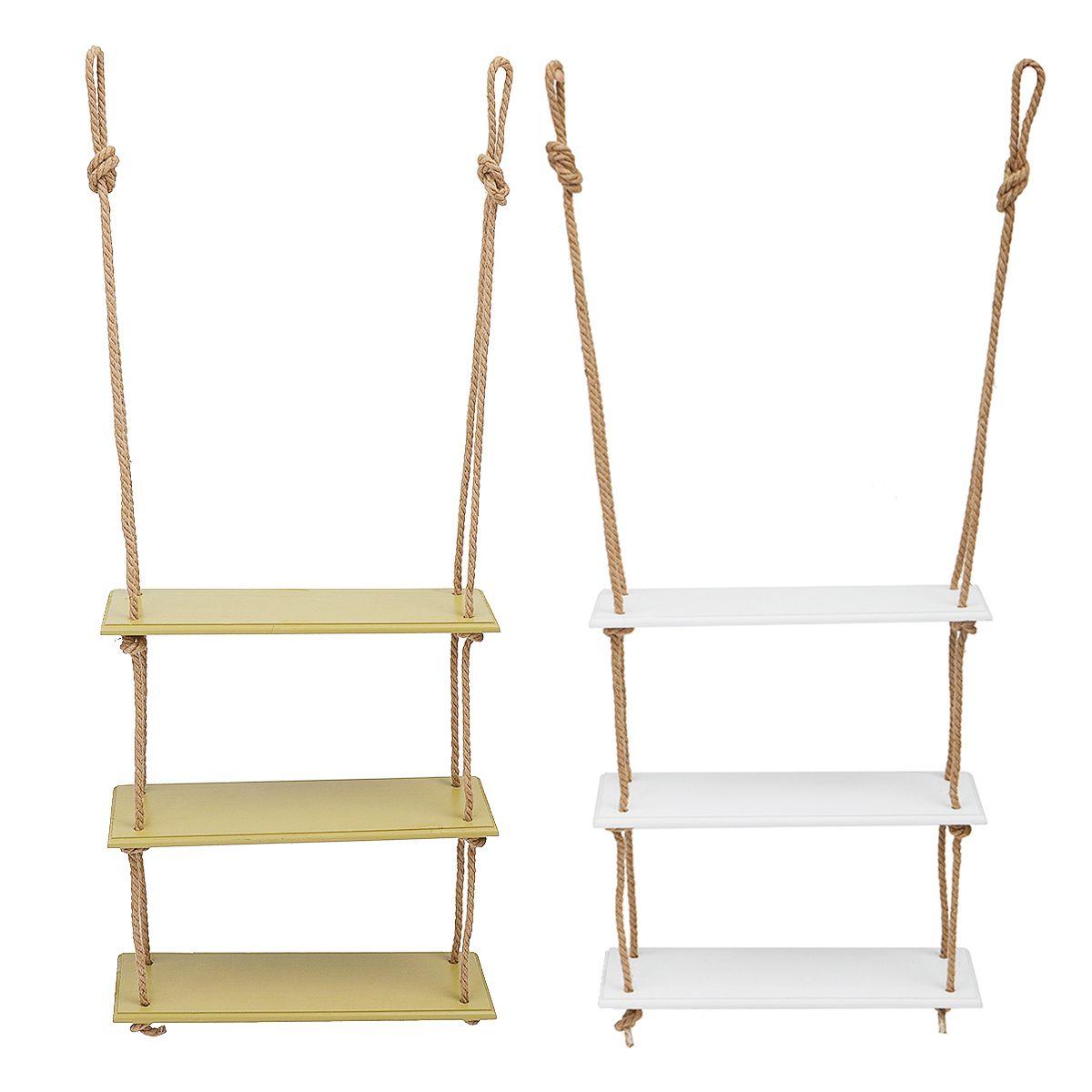 3/2/1 tiers madeira maciça Rustic Hanging Shelf balanço flutuante de armazenamento rack de parede de juta Corda Bookshelf exibir prateleiras decorativas