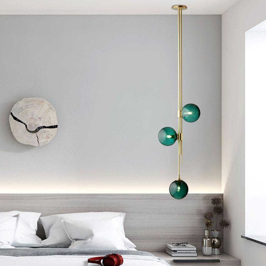 Nordic Design Glaskugel hängende Lampe 3 Köpfe kreatives Rohr errichtet Pendelleuchte Schlafzimmer Wohn Essbar Pendelleuchte