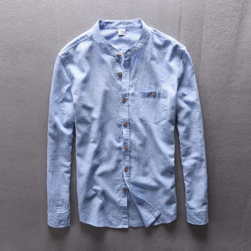 Lin Chemises hommes confortables Respirant lin naturel Casual Chemise 2020 NOUVEAU rayé Hommes Chemises manches longues