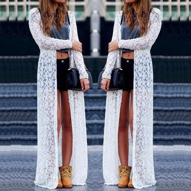 Sheer mujeres atractivas del cordón de encubrimientos blanca vestidos de flores vestido largo maxi Cardigan pareo, verano, ropa de playa de protección solar S-L