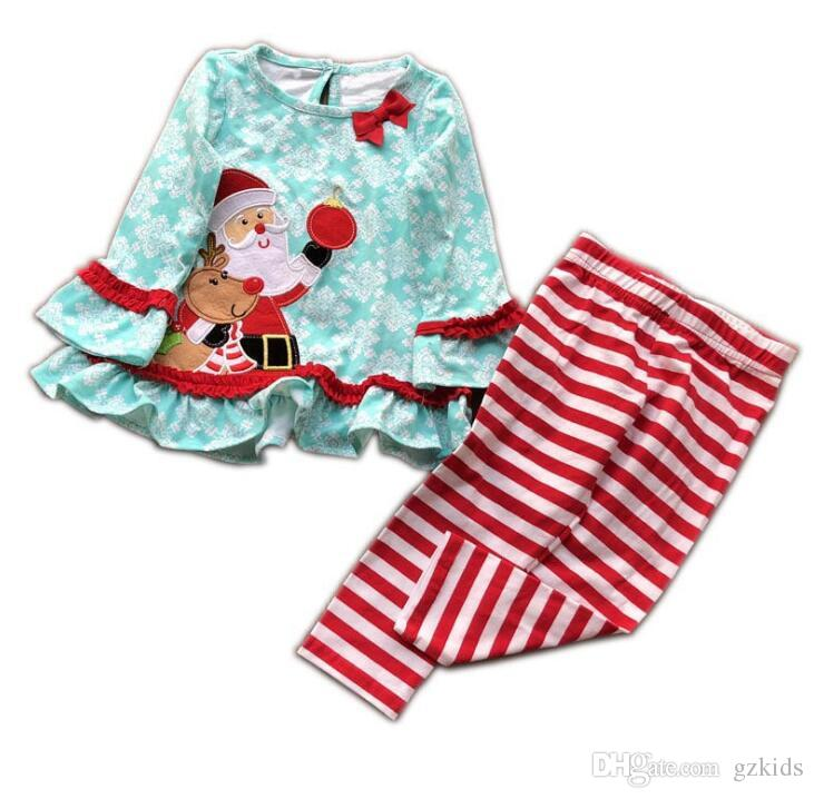 Kids Long Sleeved Christmas Dress Striped Trousers 2 piece Baby Suit Christmas Gift for Kids FREE SHIPPING