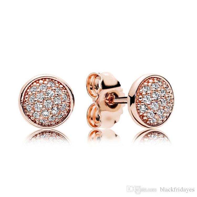 Orecchini pendenti in oro rosa 18 carati Pandora 925 orecchini in cristallo CZ con pavé di orecchini per donna Accessori moda all'ingrosso