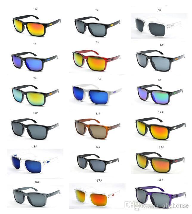 Caliente y moda Deportes al aire libre Hombres Colorido Lentes de película Gafas de sol Diseñador de la marca Hot Driving Sports Square Hombres Gafas de sol