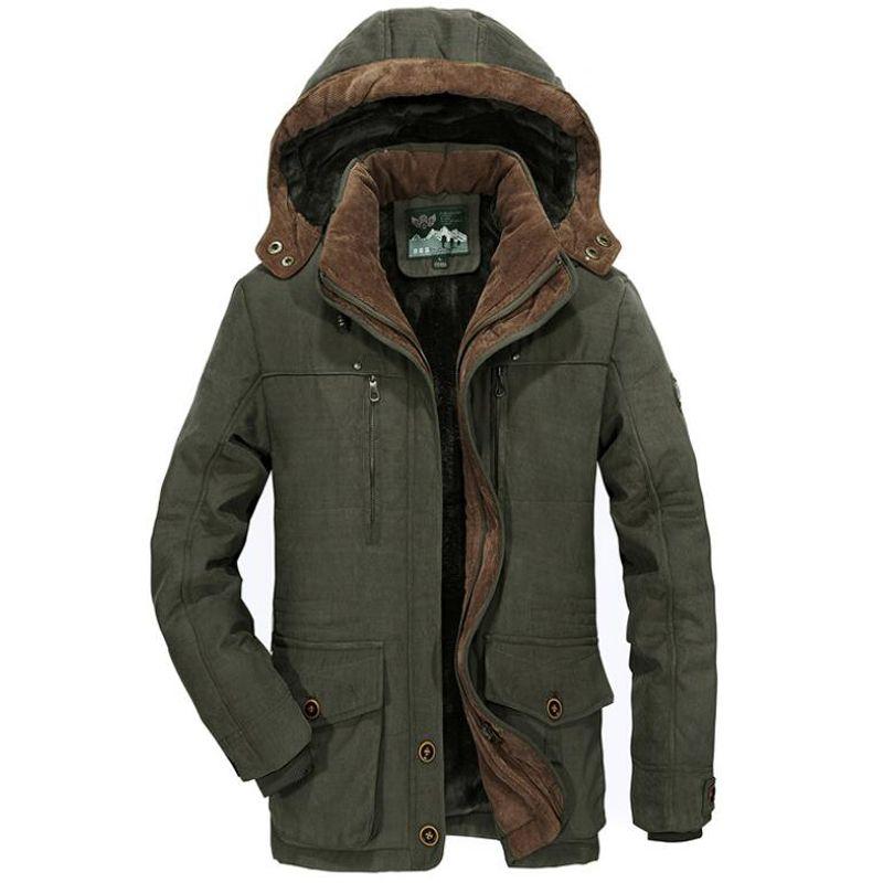 Winter Parka Coat Men Windbreaker Plus Velvet Warm Hooded Coats Men Thicken Fleece Cotton Jackets Size Overcoat