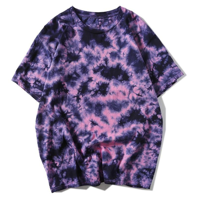 Short Tie Dye Oversize T-shirt Streetwear Mens Hip Hop Summer Casual Cotton HARAJUKU Top maschili T-shirt manica Jekex
