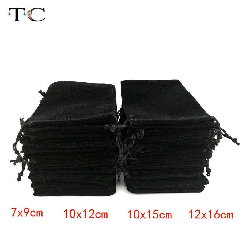 12pcs / lot Toptan Siyah Kadife Çanta Kılıf İpli Kadife Torbalar Hediyelik Çanta Takı Ambalaj Ekran Çanta Kutu Hediye