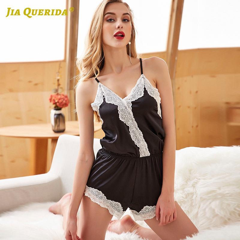 Nouveau solide manches noir Femme Vêtements Femme Pijamas Pijama Ensemble de nuit Sexy Ladies Luxury Fashion Style Été