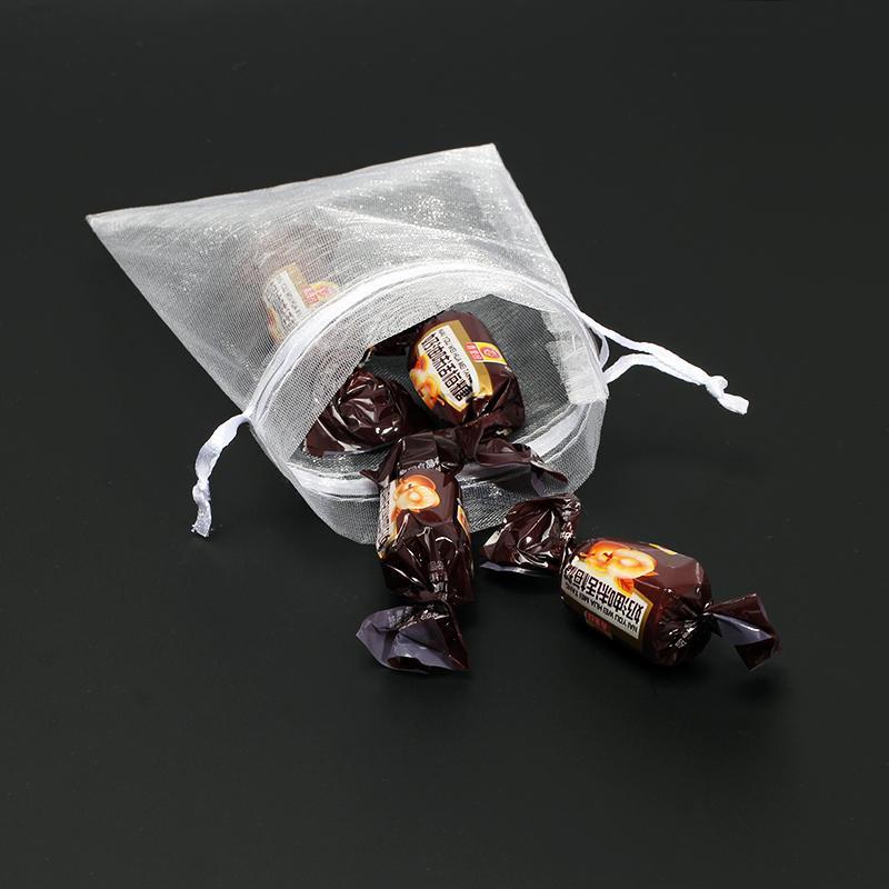 Hot 50pcs / sac multi-couleurs 9 * 12cm Sacs transparents organza Bijoux / Noël / mariage / anniversaire / cadeau Emballage Sacs 5Z Drawstring