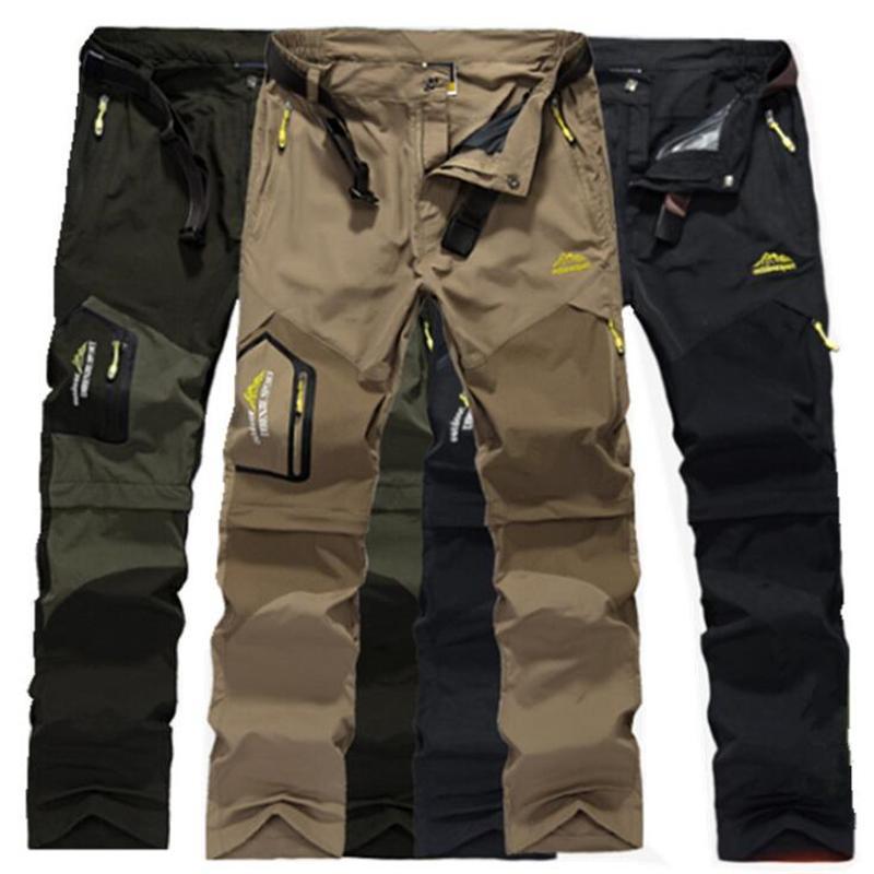 Impermeabili Pantaloni Turismo pantaloni cargo sottili 5XL casual Stretch Pantaloni Uomo rimovibile rapidamente asciugano tattici breve Elastica traspirante