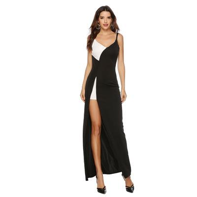 Summer Women Dresses Fashion Black White Stitching Strap Slit Dress Sexy Deep V Sling Casual Holiday A line Party Dress Plus Size S-2XL