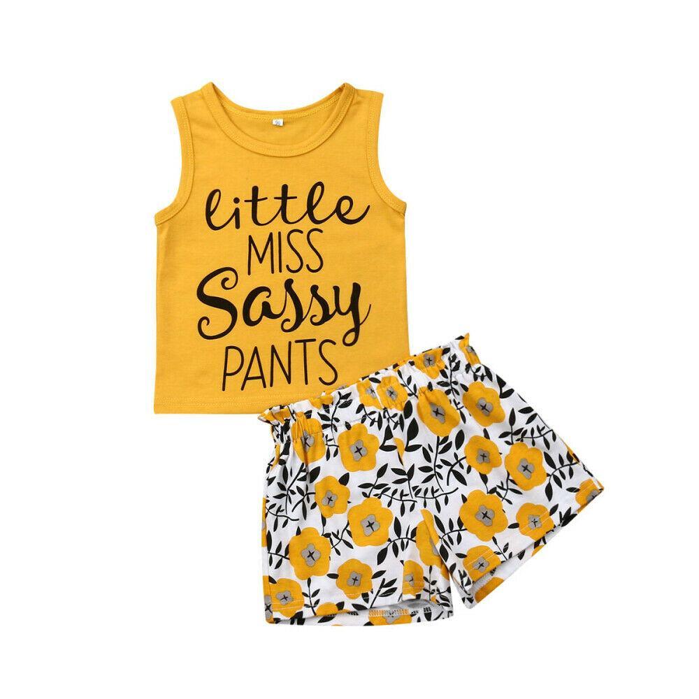 1-5Y 새로 여름 귀여운 유아 아기는 2PCS 민소매 비치 T 셔츠 + 바지 패션 의상 세트 의류 탑 팬티 의류 인쇄
