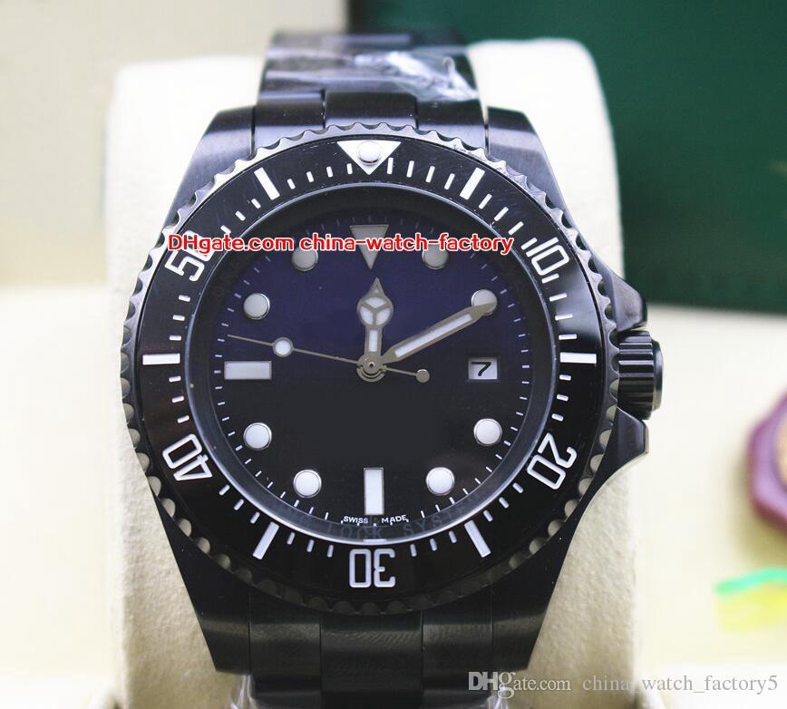 2 Style Haute Qualité Montre Perpetual 44mm Sea-Dweller 116660 D-Bleu Noir PVD Cas Asie 2813 Mouvement Mécanique Automatique Hommes Montres