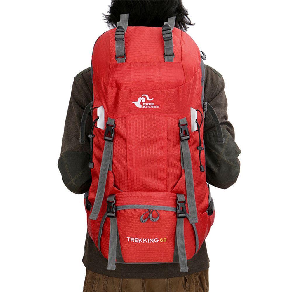 Designer-FREE KNIGHT 60L Camping Caminhadas Mochilas Bag Nylon Viagem Outdoor Mochilas Tactical escalada esportiva Saco com capa de chuva 50L