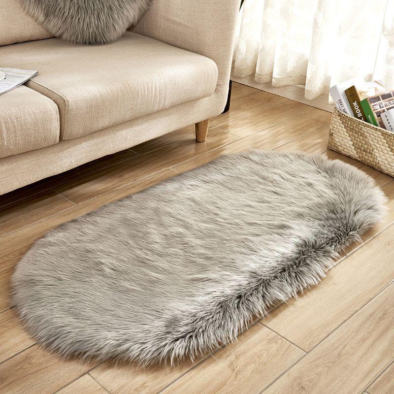 80 * 180cm del óvalo de piel sintética artificial de piel de oveja alfombra lavable del cojín del asiento mullido Alfombras Hairy suave lana cálidas alfombras para sala de estar