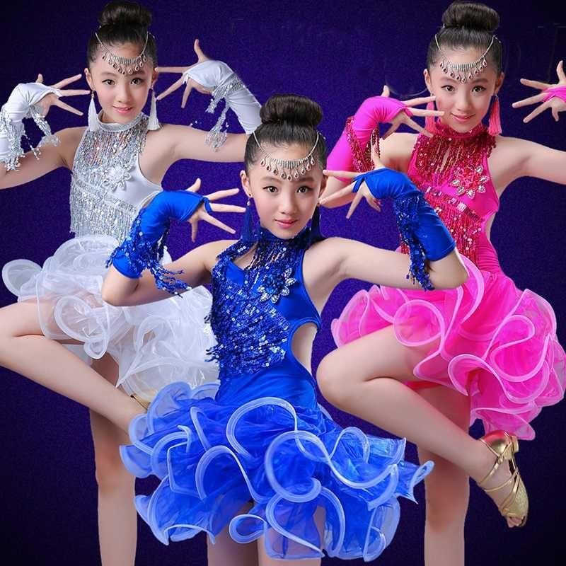 vestito da ballo latino per le ragazze i bambini salsa di paillettes frangia di usura concorrenza gonne rosse costumi della sala da ballo abiti da ballo per bambini