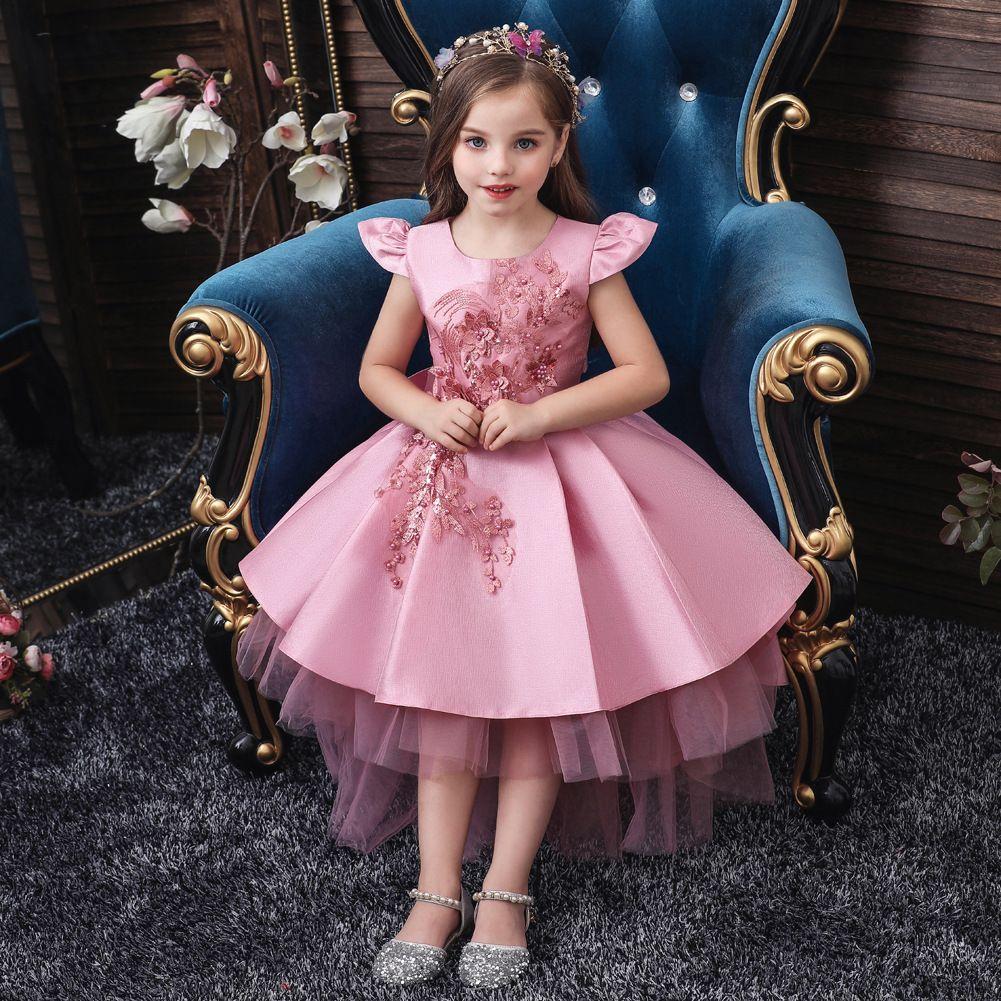 Girls Pastel Unicorn Flower Tutu Dress Kids Crochet Tulle Strap Dress Ball Gown