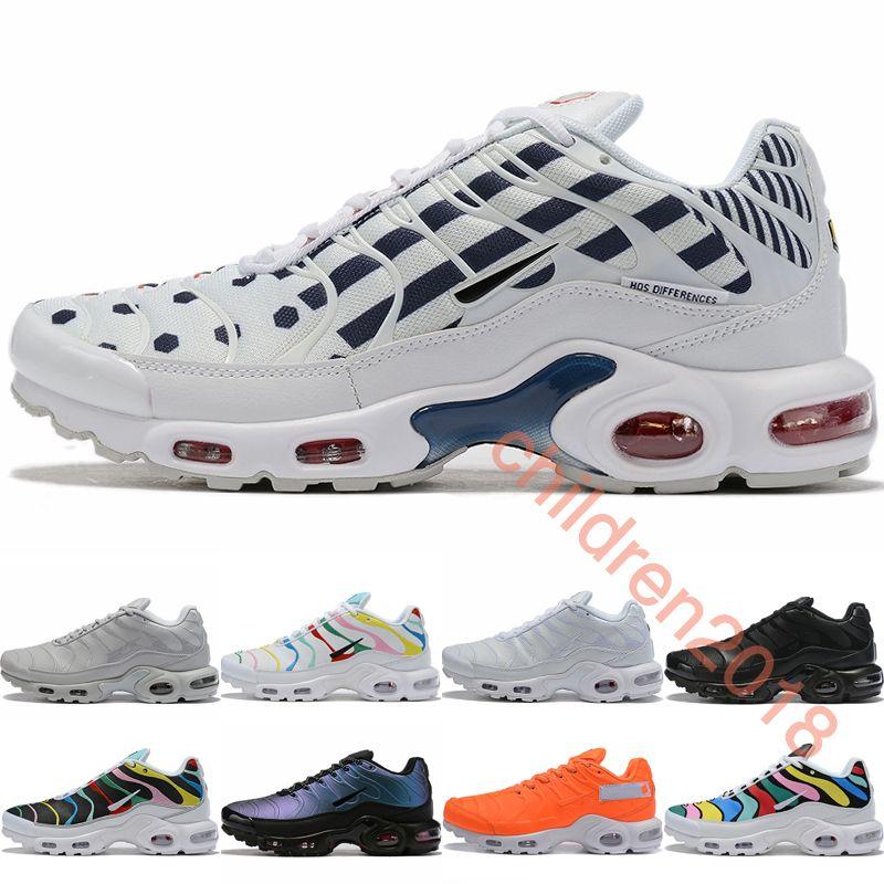 2019 Artı SE TN Erkekler Koşu Ayakkabıları Marka Deri Tasarımcısı Unite Totale Sneakers Ultra Siyah Beyaz Renkli Açık Spor Ayakkabı Boyutu 40-46
