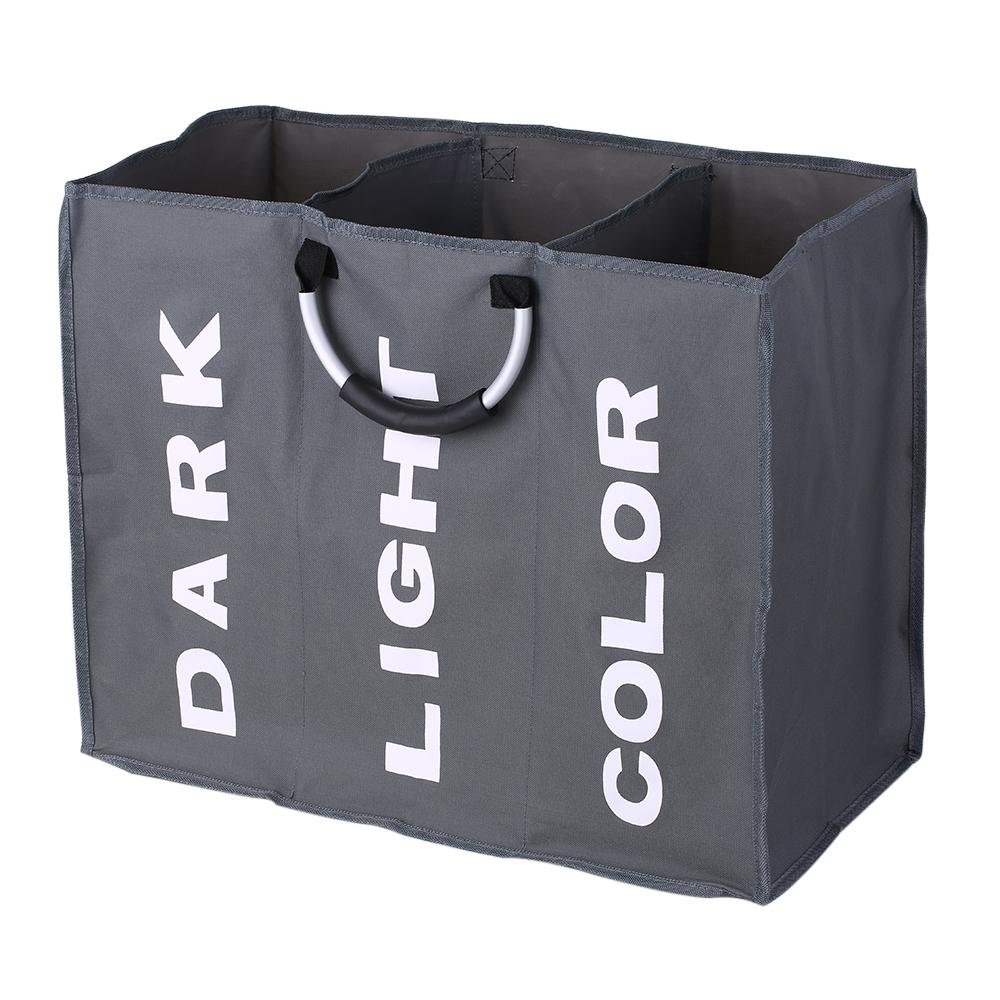 3-مقطع كبير طوي أكسفورد الغسيل سلة سوداء الملابس القذرة حقيبة تخزين منظم مع مقابض الألومنيوم C19041701