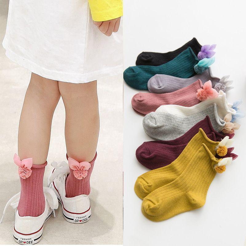 2019 bahar yeni çocuk çorap tüp içinde sevimli aksesuarlar kızlar çorap rulo Luokou pamuk gevşek ağız bebek çorap