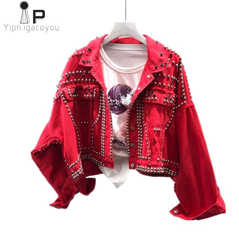 Art- und Weisekurzschluss-Denim-Jacken-Frauen-Herbst-neue Harajuku Niet-rote Jean-Jacke grundlegender Frauen-langer Hülsen-Mantel-loser Damen-Mantel geben Verschiffen frei