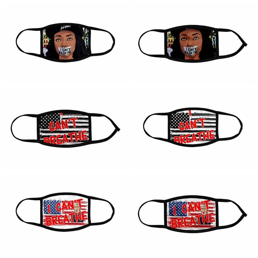 Eu não posso respirar Adultos Máscara Crianças Ice Silk Mora Preto Matéria George Floyd Trump bandeira dos EUA lavável reutilizáveis Rosto ljja414 Máscara