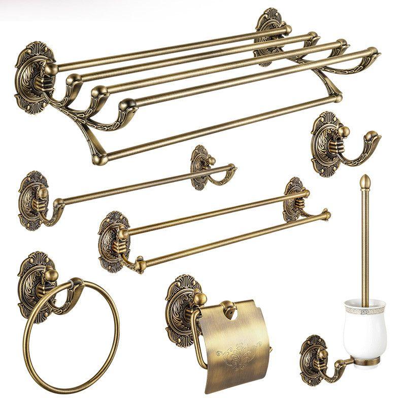 Latão Banho conjunto de acessórios antigos bronze esculpido Toalheiros Toilet Brush Holder papel toalha titular Bar Bath Set Hardware