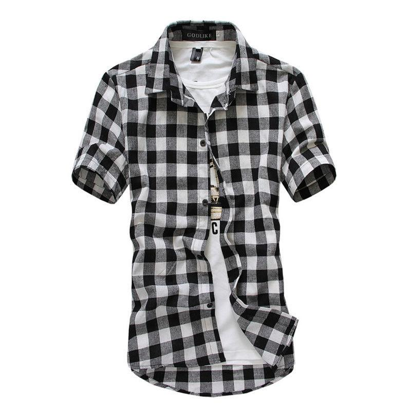 Fashion Men/'s Summer Casual Dress Shirt Mens Plaid Short Sleeve Shirts Tops Tee